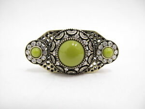 NEW Lia Sophia Clear Cut Crystal Lime Resin Mirela Ring in Antique Gold Sz 7$175