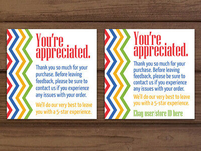 Thank You For Your Purchase Chevron Ebay Colors Business Cards Personalized