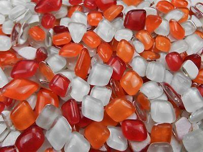 Unregelmäßige Mosaikstene lose zum Basteln Polygonal Rot Orange Weiß Mix