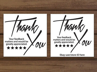 Thank You Stickers Shipping Labels Or Business Cards Black White Personalized
