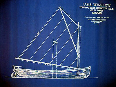 """Yacht Plan Vintage Sailboat Dingy Lifeboat 1897 Blueprint Drawing 19""""x25"""" (047) for sale  San Diego"""