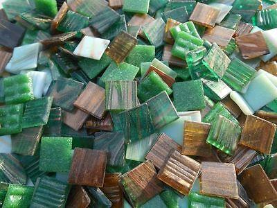 Mosaiksteine Grün Braun Mix loses Glasmosaik Bastelmosaik 2x2cm, 4mm stark
