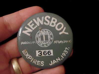 HAND PAINTED PINBACK ~ NEWSBOY 1937 BADGE