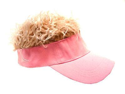 FLAIR HAIR HATS WITH HAIR FADED PINK VISOR BLONDE HAIR QUALITY SURF SKATE GOLF