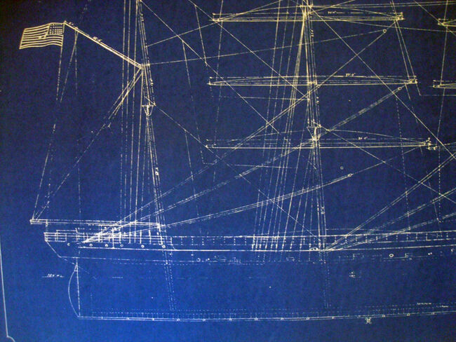 Antique Square Rigger Ship Kaiulani Print Hawaii 1899 Blueprint Plan 22x35 (303)