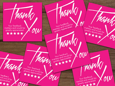 Thank You 5-star Shipping Stickers Labels Hot Pink White 25-1000 2x2 Ebay Amazon