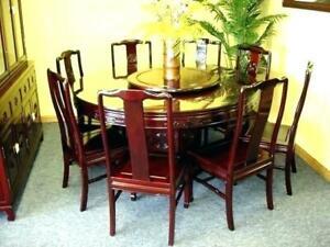 Round blackwood dining table