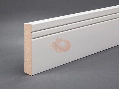Sockelleisten Weiß MDF 100mm x 19mm Fußleisten Bodenleiste 2 Ziernuten 8,80€/lfm