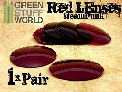 1x Paar Linsen für Schweisserbrille-Steampunk - Farbe ROTE ROT - Kostüme