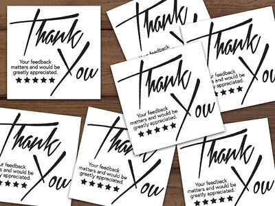 20-1000 Thank You Stickers Shipping Labels Seals Black White Ebay Personalized