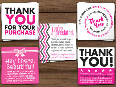 100 Assorted Thank You For Your Order Purchase Pink White Ebay Business Cards