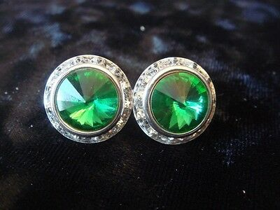 16mm Crystal Emerald Green Rondel and Rivoli Button Earrings CLIP (J-30)