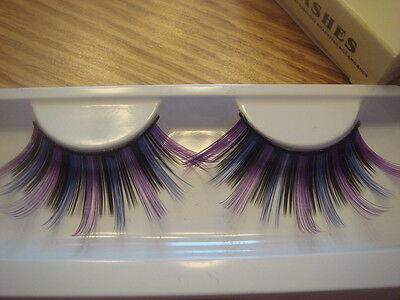 Purple Black and Blue Super Long False Eyelashes (J-140)](Purple Eyelashes)
