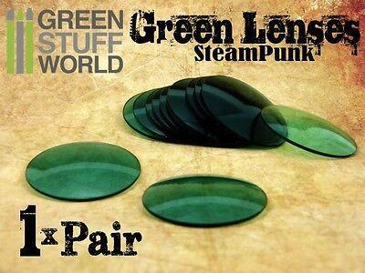 1x Paar Linsen für Schweisserbrille-Steampunk - Farbe GRÜNE - Kostüme ()