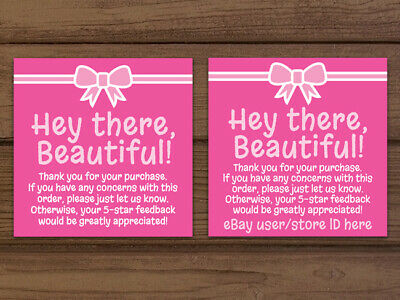 Thank You For Your Purchase Pink White Seller Business Cards Custom Personalized