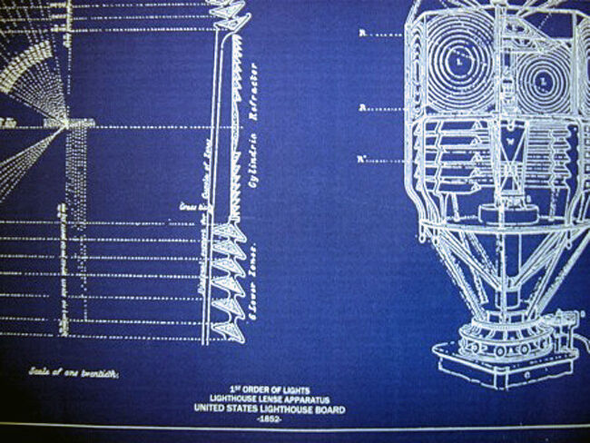 Vintage LIGHTHOUSE LENS 1st Order 1854 Blueprint Plan 19