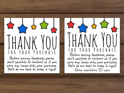 Thank You For Your Purchase Ebay Color Star Business Cards Customizable