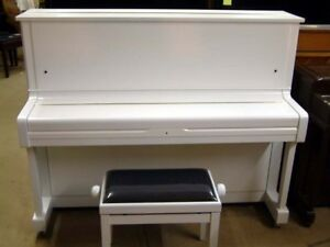White piano for sale with bench