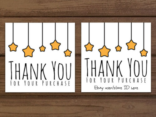 Thank you for your purchase custom business cards or shipping labels gold stars