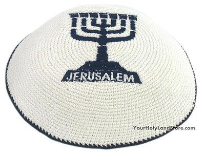 White Knitted Kippah with Blue Menorah - Jewish Yamaka Jerusalem - hat cap gift