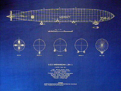 Vintage US Navy Blimp 1923 USS Shenandoah ZR-1 Print Blueprint Plan 20x24  304)