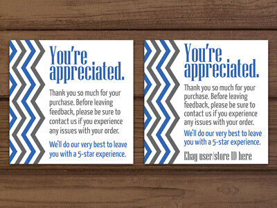 Thank You For Your Purchase Chevron Blue Gray White Business Cards Personalized