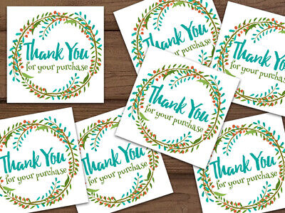 Thank You For Your Purchase Floral Wreath Shipping Labels Stickers Personalized