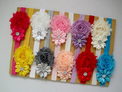 10Pcs Cute Kids Girl Baby Chiffon Toddler Flower Bow Headband Hair Band Headwear ()