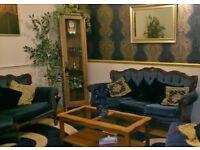 Victorian 4pc Sofa Suite - 3 Seater + 2 Seater + (2) Armchairs - Deep Ultramarine Blue - Antique