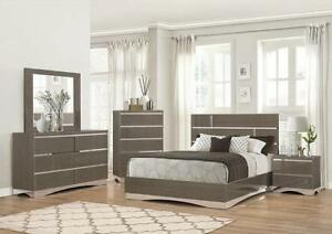 Modern bedroom set with glass work for $1499
