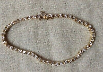 2ct 14K Yellow Gold Round Brilliant Diamond Tennis Bracelet 8.7 Grams 7.25