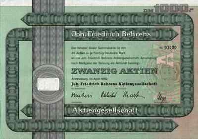 Joh. BEHRENS 1977 Marke BeA Ahrensburg Hamburg 1000 DM Historische Wertpapiere
