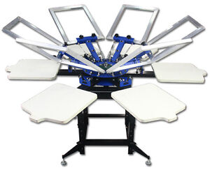 Manual 6-6 Colors Rotary Silk Screen Printing Press Equipment Machine T-Shirt
