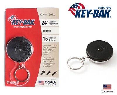 Key-bak Retractable Key Reel - Black - 15 Keys - Usa - 24 Stainless Steel Chain