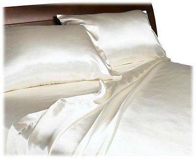 NEW Divatex Make clear Fashions August Opulence Satin Majesty Flat sheet Set, Ivory