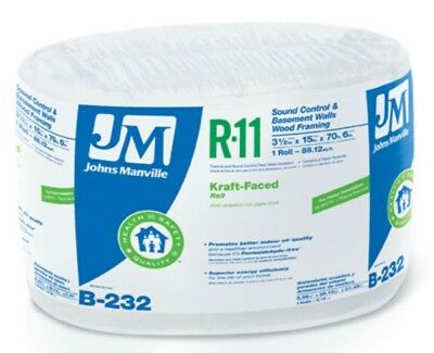 Johns Manville 90003717 Kraft-faced R-11 Fiberglass Insulation Roll 15 X 706