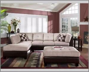 ELEPHANT SKIN SECTIONAL SOFA WITH FREE OTTOMAN FROM 649$