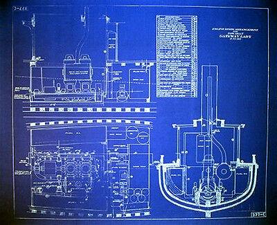 Ships Plan San Francisco 1915 Tugboat Blueprint
