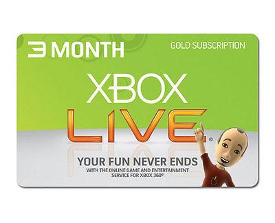 XBOX LIVE 3 MONTH GOLD MEMBERSHIP CODE XBOX 360 XBOX ONE FAST DISPATCH(UK/EU)