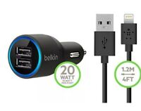 NEW-Belkin-2-port-USB-Car-Charger-for-iphone5S/6/6s/ Ipad