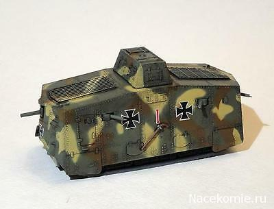 "1/72 German heavy tank A7V ""Iron kaput"" 1917 WWI + magazine"