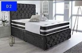 Crushed velvet divan beds with draws