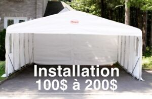 Installation tempo abri auto car shelter