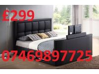 *DOUBLE TV LEATHER BED FRAME - BLACK- BROWN- £299 WAS £799*