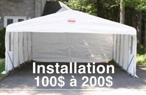 Installation tempo, abri d'auto, car shelter