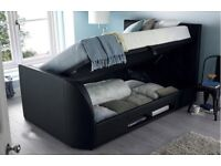 *SALE* CASINO GAS LIFT STORAGE LEATHER TV BED £349*FULL ELECTRIC RISE