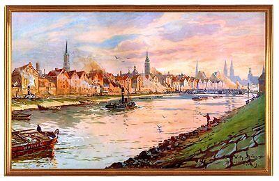 Deutsches Reich Bremen Hafen Weser Gemälde Stöwer 11 LW