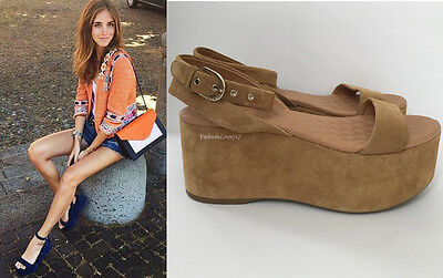 NEW $875 CHANEL BEIGE BROWN SUEDE LEATHER PLATFORM WEDGE SANDALS SHOES 37 6.5