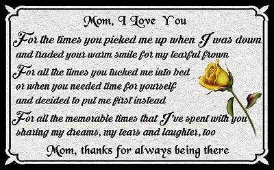 - (Mom I Love You) Mothers Day, gift, rose, holiday, plaque, sign, wall decor