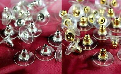 Bulk Back (BULK LOT Earring Backs Deluxe PAD Gold or Silver Plated 20-200 pc Ear Post Nuts)